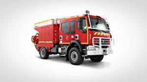 Фото Рено Пожарный автомобиль Красная Сбоку Сером фоне 4x4, D14 авто