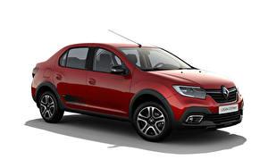 Обои Renault Красный Металлик Белом фоне Logan Stepway City, CIS-spec, 2018 -- машина