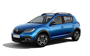 Фотографии Renault Синих Металлик Белом фоне Sandero Stepway City, CIS-spec, 2018 -- машины