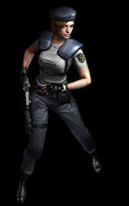 Картинка Resident Evil Полицейский Черный фон Jill Игры Девушки 3D_Графика