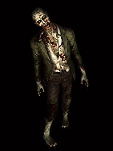 Обои Resident Evil Зомби Черный фон Кровь Игры 3D_Графика