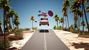 Обои Курорты Дороги Пальмы Чемодан Зонт Мяч 3D Графика Автомобили