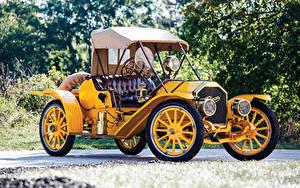 Картинки Винтаж Желтый Металлик Родстер 1910 Pullman Model O Roadster Автомобили