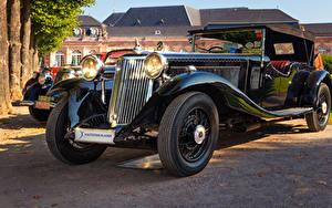 Фотография Ретро Черный Металлик 1934 Armstrong Siddeley Vanden Plas Автомобили