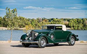 Обои Винтаж Зеленый Металлик Родстер 1934 Packard Super Eight Coupe Roadster