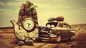 Картинка Старинные Ананасы Кошки Оригинальные Часы Попугаи Карманные часы Руки Фантасмагория