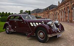 Картинки Ретро Бордовая Металлик 1932 Röhr 8F Olympier Автомобили