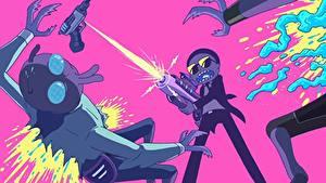 Обои Выстрел Мальчишки Инопланетянин Rick and Morty