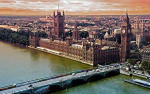Фотографии Речка Мост Англия Здания Лондоне Биг-Бен