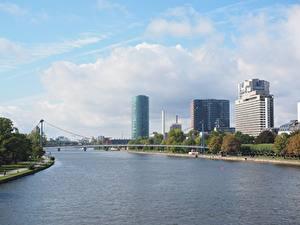 Картинка Реки Мосты Германия Франкфурт-на-Майне Дома Main river