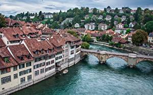 Фотографии Речка Мосты Здания Берн Швейцария river Aare Города
