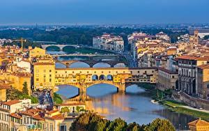Фото Речка Мост Здания Флоренция Тоскана Италия Ponte Vecchio город