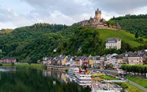 Фото Реки Замок Речные суда Германия Кохем Холмов river Moselle