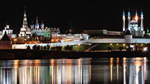 Обои для рабочего стола Река Мечеть Церковь Россия Ночью Kazan, Volga, Tatarstan Города