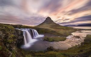 Картинка Река Гора Водопады Исландия Kirkjufell, Kirkjufellsfoss Природа