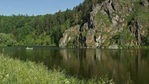 Картинки Река Лето Сибирь Россия Скалы Траве Природа