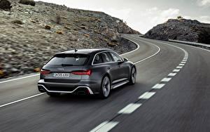 Картинки Дороги Ауди Движение Серый Металлик Универсал Сзади RS 6 2020 2019 V8 Twin-Turbo машины