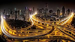 Обои Дороги Китай Шанхай Дома Ночь Мегаполиса Уличные фонари