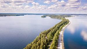 Фотографии Дороги Лес Озеро Финляндия Горизонта Сверху Punkaharju, province of South Savo