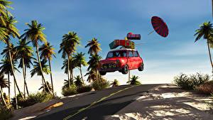 Фото Дороги Пальмы Чемодан Зонт 3D Графика Автомобили