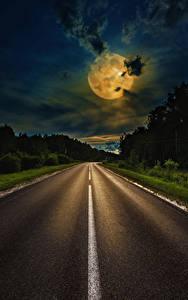 Обои для рабочего стола Дороги Небо Ночь Луной Облако Природа