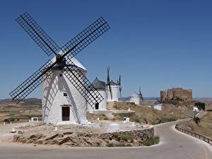 Фотография Дороги Испания Ветряная мельница Consuegra, La Mancha Города