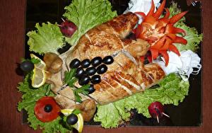 Картинки Курица запеченная Овощи Оливки Дизайн Пища