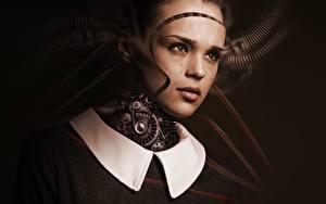 Картинка Робот Шестеренки Смотрит Голова Лицо Фэнтези Девушки