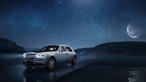 Фотографии Rolls-Royce Ночь Белый Phantom Tranquillity Автомобили