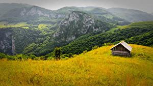 Фотография Румыния Дома Горы Луга Поля Трава Природа