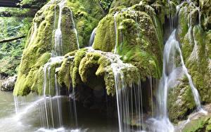 Обои Румыния Водопады Мох Cascade Bigar