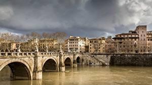 Фотография Рим Италия Река Мосты Tiber город