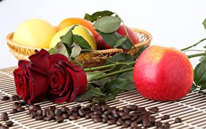 Картинки Роза Яблоки Кофе Зерна Цветы Еда