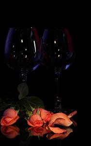 Фото Розы Черный фон Розовая Лепестков Бокалы Два Цветы