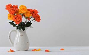 Картинки Роза Букет Кувшины Лепестков Оранжевые Шаблон поздравительной открытки