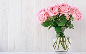 Картинка Розы Букеты Розовый Ваза Шаблон поздравительной открытки Цветы