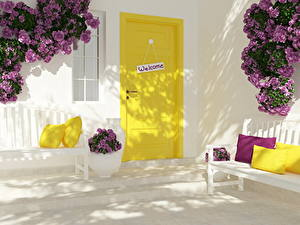 Картинка Роза Букеты Дверь Подушка Скамейка welcome цветок 3D_Графика