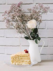 Обои для рабочего стола Роза Торты Стенка Кувшины Инглийские Кусок mom цветок Еда