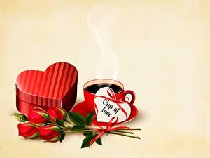 Обои для рабочего стола Розы Кофе День всех влюблённых Шаблон поздравительной открытки Сердце Чашке Цветной фон цветок