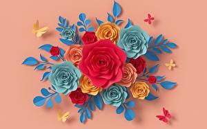 Фотографии Розы Цветной фон Бумага Дизайн цветок 3D_Графика