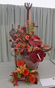 Обои Розы Герберы Антуриум Дизайн Цветы