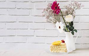 Фотография Роза Гербера Пирожное Лимоны Стенка Вазе Ветвь Шаблон поздравительной открытки Еда