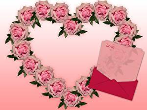 Картинка Розы Сердце Розовая Английский Шаблон поздравительной открытки