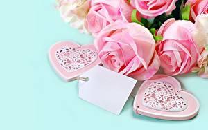 Фото Розы Розовых Шаблон поздравительной открытки Сердечко Цветы