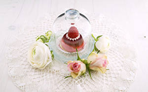 Фотография Розы Лютик Торты Малина Цветы