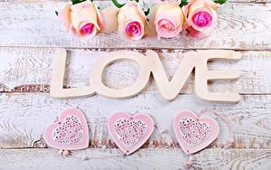 Картинка Розы День всех влюблённых Любовь Слово - Надпись Английский Сердца Доски Цветы