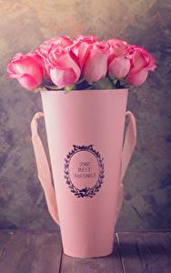 Фото Роза Вазе Розовых Цветы