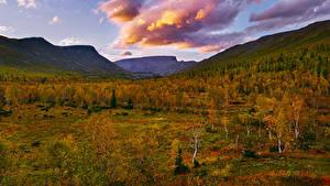 Картинки Россия Осенние Горы Деревья Облака Khibiny Природа
