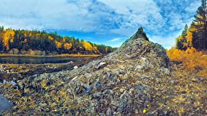 Фото Россия Лес Осень Речка Камень Ural Природа