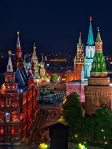 Фотографии Россия Москва Дома Московский Кремль Улица HDR Ночные Города